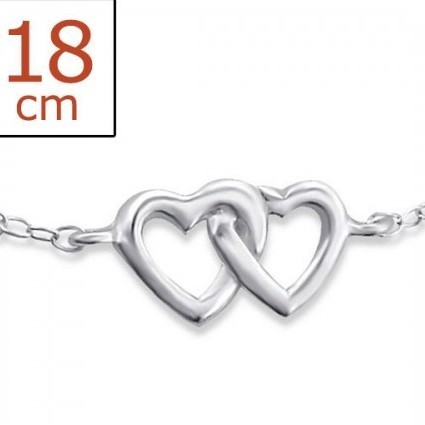 "Armband Zilver ""Hearts"""
